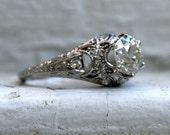 Gorgeous Vintage Filigree Platinum Diamond Engagement Ring - 1.34ct.