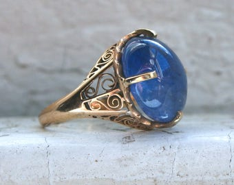 RESERVED - Beautiful Antique 14K Yellow Gold Cabochon Sapphire Ring Engagement Ring - 12.00ct.