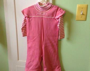 12-16M Toddler Baby Bell Bottom Turtle Neck Onesie Romper Pink Striped Vintage 70s Retro