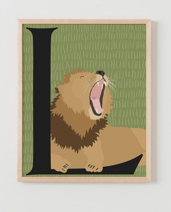 Animal Alphabet, L is for Lion Fine Art Print