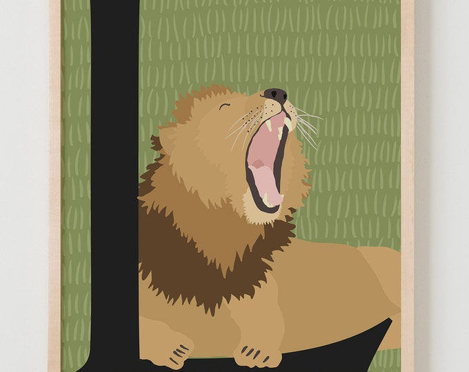 Animal Alphabet, L is for Lion Fine Art Print