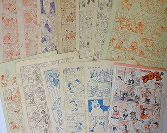 50s Vintage Japanese Childrens Comic Book 13 Pages Paper Ephemera Scrap Assorted Pack