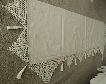 Crocheted Mantel Scarf - Victorian Mantel Scarf - Mantel Runner - Victorian Linens - Fireplace Scarf - Mantel Runner - Rare Linens