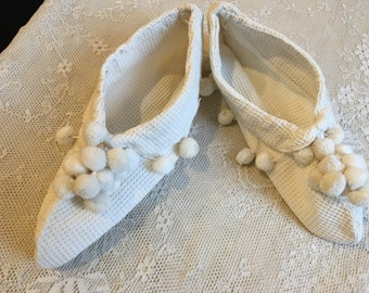 Vintage 1950s Hand Made Waffle Weave Bedroom Slippers.  Pom Pom Decorated Bedroom Slippers.
