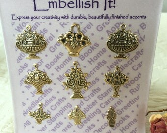 Gold Charms of Flower Baskets. Embellish It! Gold Flower Baskets with Eye at Top to Sew to Project. Sewing Craft Embellishments.