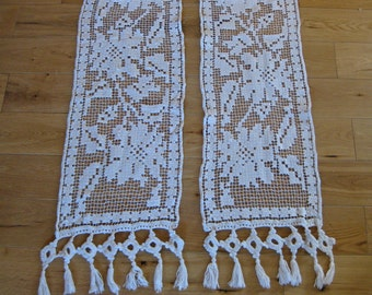 Pair of short filet lace curtains with fringes - French country home decor