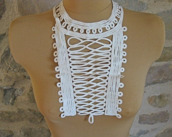 jabot collar - vintage French handmade tape lace dress front collar - hussar military style