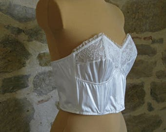 1950s French strapless pinup bra, white satin and lace longline brassiere