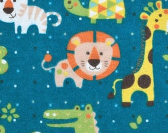 Snuggle Flannel Fabric - Baby Jungle Friends - 20 inches