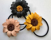 Leather Sunflower hair ties and ponytail holder