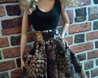 Full Acorn Print Skirt  for Barbie or similar fashion doll