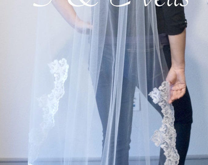 SWEEP Veil with LACE Applique edge, embellishments for any veil, chapel, hip,ivory and white colors, embroidery for veils, edge with lace