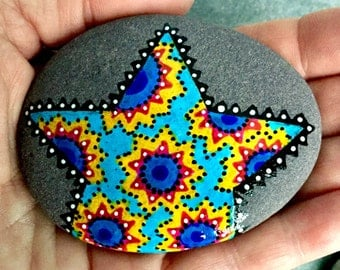 turquoise lone star / painted stones / painted rocks / paperweights / rock art / sea stones / hand painted rocks / mandalas / boho art