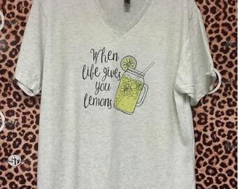 When Life gives you Lemons, lemonade, mason jar print printed v-neck t-shirt  adult s, m, l, xl, xxl (2X)