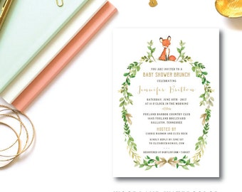 Woodland Watercolor Baby Invitation | Baby Shower Party Invitation | Printed or Printable by Darby Cards