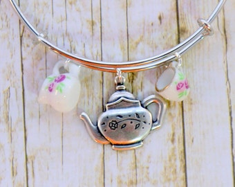 Antique silver teapot stackable charm bangle, expandable pink and white china cup creamer charm bracelet, tea time, pouring tea, tea jewelry