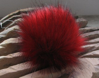 Spare RED Faux Fur Pom Pom ,  Detachable Fur pom pom, Detachable pom pom