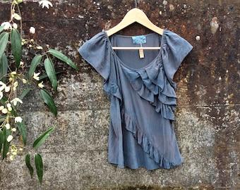 Indigo dyed Silk blouse, size Small, indigo silk top
