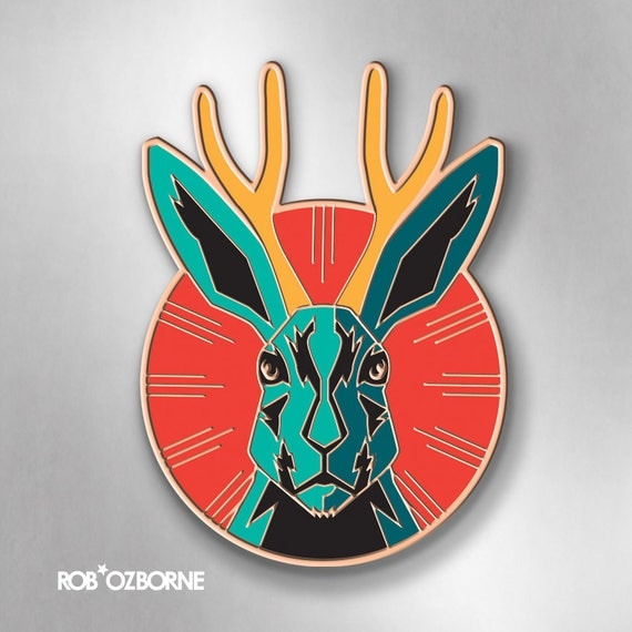 JACKALOPE-ZILLA Enamel Pin - Jackalope Pin - Collectible Art Pin by Rob Ozborne