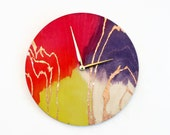 Unique Wall Clock, Watercolor Wall Art, Ready To Ship, Large Wall Clock, Home and Living, Home Decor, Decor and Housewares