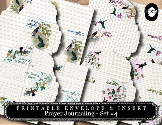 Printable Envelopes - Prayer Journaling Hummingbirds Set #4 - 8 Page Instant download - envelope templates, faith, mini envelopes
