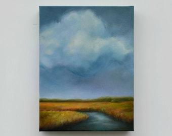 Marshland painting, original oil painting, cloud painting, landscape, original art - Into the Marsh