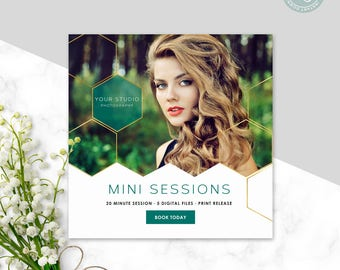 Mini Session Template - Photoshop Template - Modern Mini Session - Senior Marketing - Gold Template- Photography Template - Instant Download