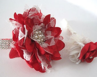 Wrist Corsage Bracelet Set Prom Homecoming Red Satin with Light Ivory Lace with a Pearl and Rhinestone Accents Wedding Accessories Showers