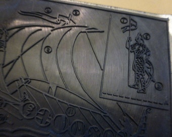 Viking Longship, The Vikings,  Rubber Printing Plate, French History. Circa 1950-1960