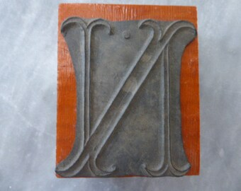 N. Large Monogram Initial Rubber Fabric Stamp, French Vintage, Initial N Circa 1920