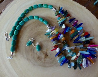 23 Inch Southwestern Gemstone Stick Bead and Green Turquoise Double Strand Necklace with Earrings