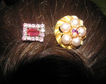 2 Vintage Pink Rhinestone Pearl Beaded Ooak Recycled Costume Jewelry Victorian Hair Bobby Pin Hair Clip