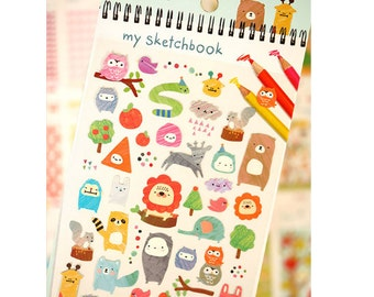 Diary Scrapbook Funny Deco Sticker Label - Forest Animal