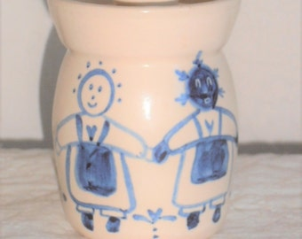 Primitive Stoneware Glazed Crock with Girls