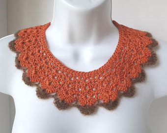 Orange Crochet Lace Collar Orange Collar