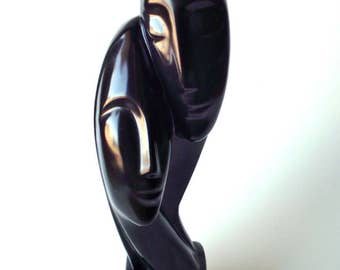 Vintage Mid Century Modern Black Ceramic Sculpture Abstract Heads MCM Haeger Pottery Style