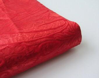 Red textured silk brocade wedding kinkhab heavy Indian silk brocade fabric nr 786 for fat quarter - 1/4 yard