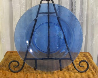 """Vintage 90's cobalt blue glass dinner plates 11"""" set of 6"""