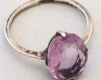 Amethyst Ring, Sterling Silver, Art Deco 1920s Vintage Jewelry SPRING SALE