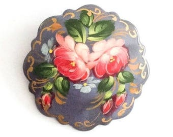 Lacquered Brooch, Russian Art Deco Pin, Pink Roses, Grey, Vintage Jewelry SPRING SALE