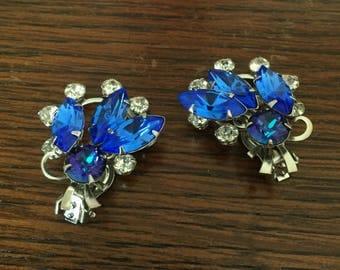 Sapphire Blue Glass Earrings, Art Deco Retro 1940s Vintage Jewelry SUMMER SALE