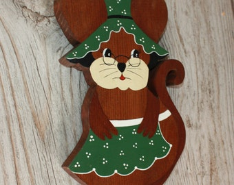 Vintage, Hand Painted, Wood Mouse, Wall Hanging