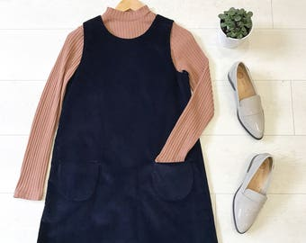 Mod Dolly Hayley Navy Corduroy 60s Style Pinafore Dress