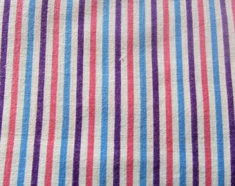 RESERVED FOR RETROA -- vintage full feed sack fabric -- turquoise, pink and purple stripe