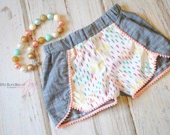 Rainbow Birthday Shorts - Chambray Shorts - Rainbow Shorts - Toddler Coachella shorts - Pom Pom Shorts - Stylish Kid Shorts - Trendy Shorts