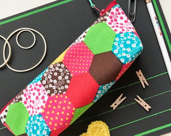 SALE**Funky Vintage Fabric Hexie Pencil Case Binder Pouch/ Journaling Case/Eyeglass Case/ Crochet Hook Pouch