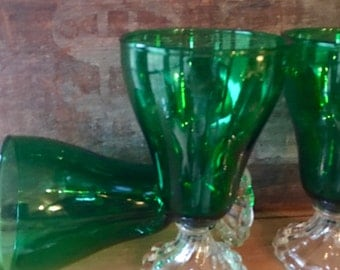 water glasses three burple forest green water goblets anchor hocking ca 1950s