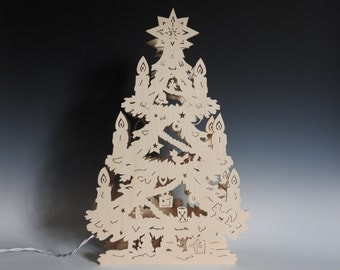 Schwibbogen Christmas Tree, Lichterbogen Decorated Tree, Lighted Tree Decoration, Traditional German Style Wooden Scroll Saw Decor
