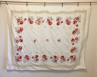 Vintage Tablecloth, White Floral Tablecloth, Red Rose Tablecloth, vintage floral tablecloth, table linens