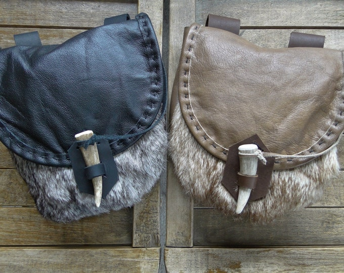 Viking Fur Pouch, Leather Medieval Bag, Large - Choose Your Color -